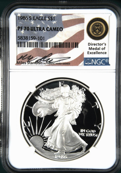 1986-S Silver Eagle NGC PF70 Miles Standish Hand Signed