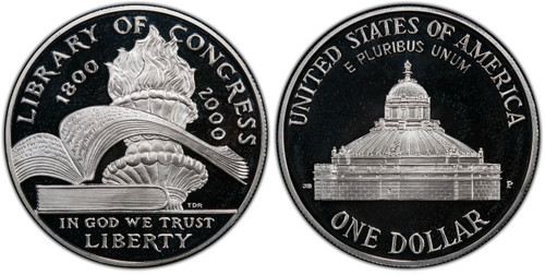2000-P Library of Congress Silver Dollar GEM Proof
