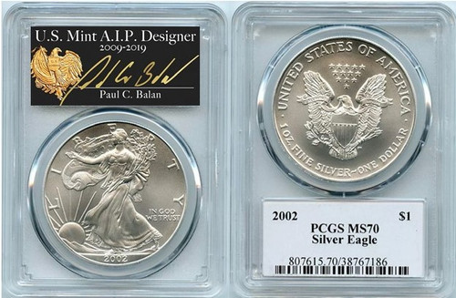 2002 Silver Eagle PCGS MS70 Paul Balan Hand Signed