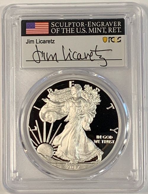 2017-W (2020) Proof Silver Eagle PCGS PR70 DCAM (West Point Mint Hoard) Jim Licaretz Signed