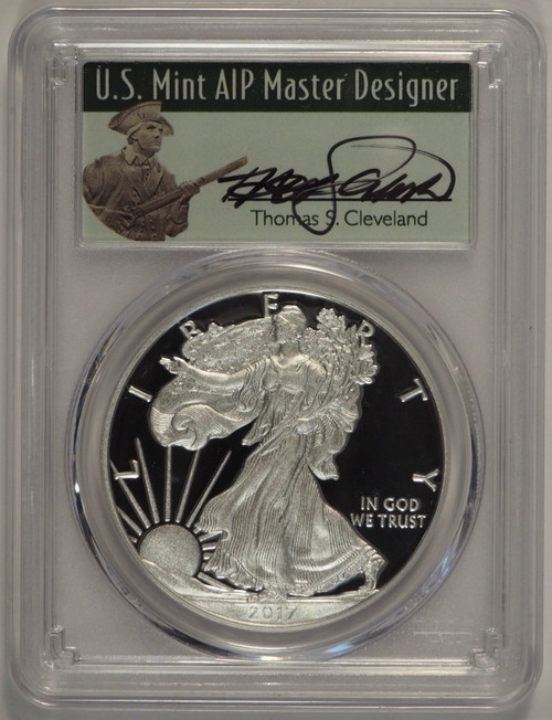 2017-W Proof Silver Eagle PCGS PR70 DCAM First Day of Issue Thomas Cleveland Signed