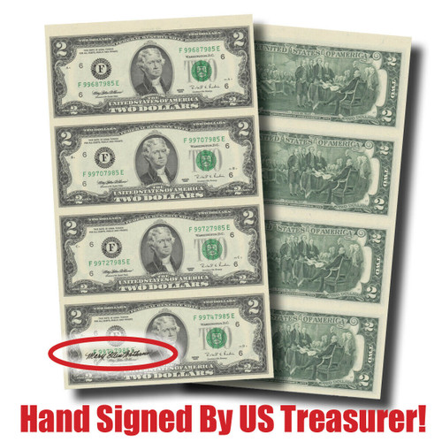 $2 Bills! Hand-Signed 4-Note Sheet--by Treasurer Mary Ellen Withrow