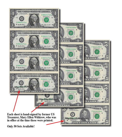 $1 $2 and $5 Bills! Hand-Signed 4-Subject Currency Sheet Collection Signed by Treasurer Mary Ellen Withrow