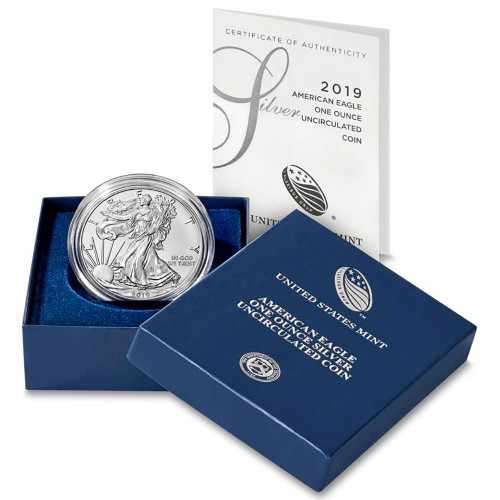 2019-W Burnished Silver Eagle in Original Packaging - The Lowest Mintage