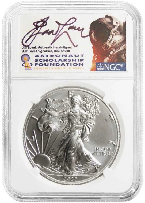 2020 Silver Eagle NGC MS70 Jim Lovell Signed 1/500