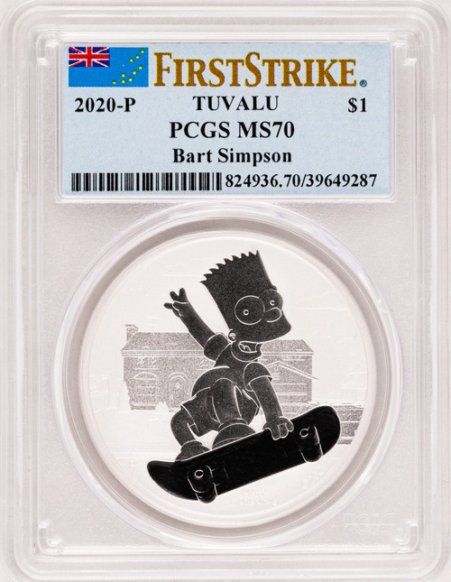 2020 $1 Tuvalu Bart Simpson 1oz .9999 Silver Coin PCGS MS70 First Strike