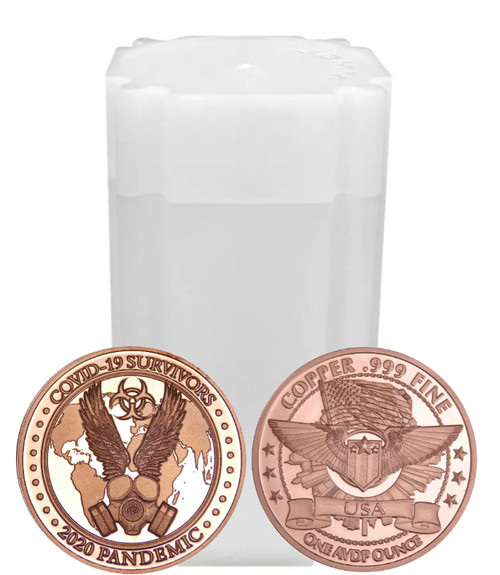 1 oz Copper Round - Covid-19 Survivor Design (Roll of 20)