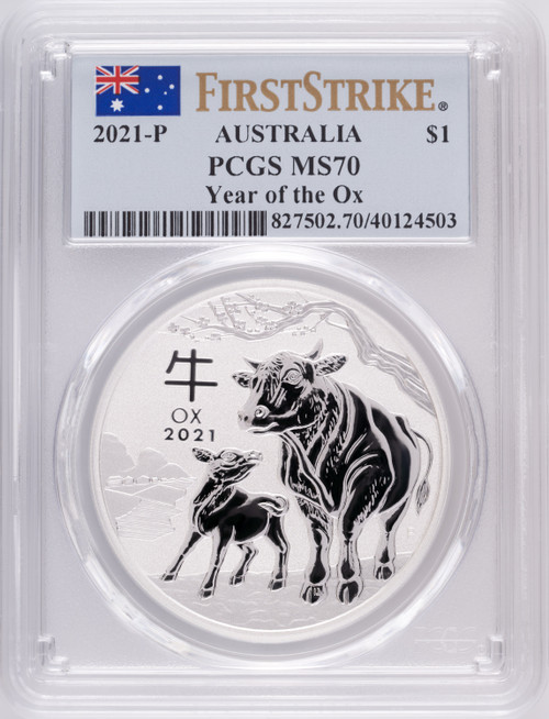 2021-P Australia Lunar Series III Year of the Ox Silver Coin PCGS MS70 First Strike