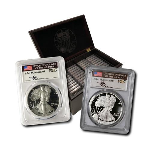 1986-2020 Proof Silver Eagle Set PCGS PR70 DCAM John Mercanti Hand Signed w/ Custom Mahogany Box
