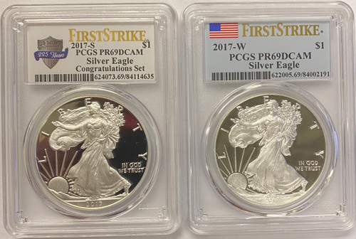 2017-S & W Proof Silver Eagle PCGS PR69 DCAM First Strike (2-Coin Set)