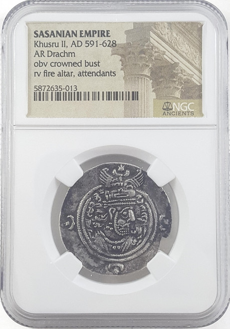 A.D. 591-628 Khusru II & the True Cross Silver Drachm NGC Certified