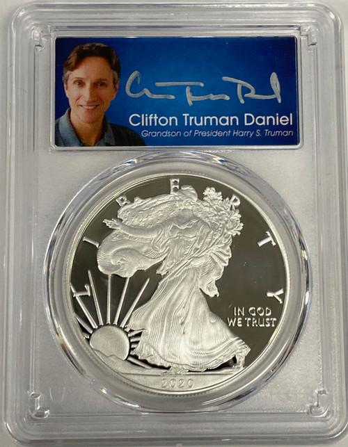 2020-S Proof Silver Eagle PCGS PR70 DCAM First Day of Issue Clifton Truman Signed