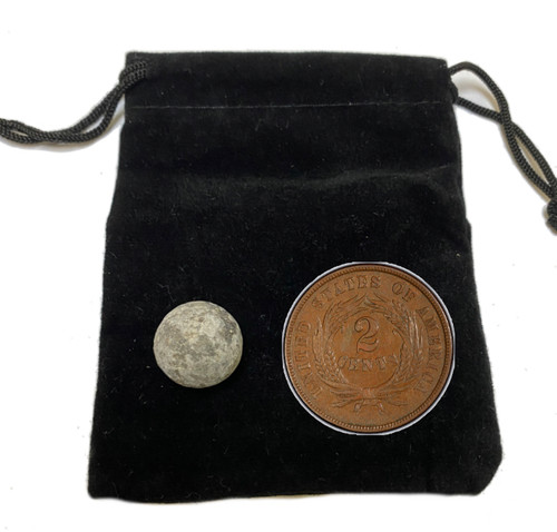 Genuine Civil War Musket Ball and Two Cent Piece in Pouch