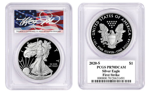 2020-S Proof Silver Eagle PCGS PR70 DCAM First Strike Thomas Cleveland Signed