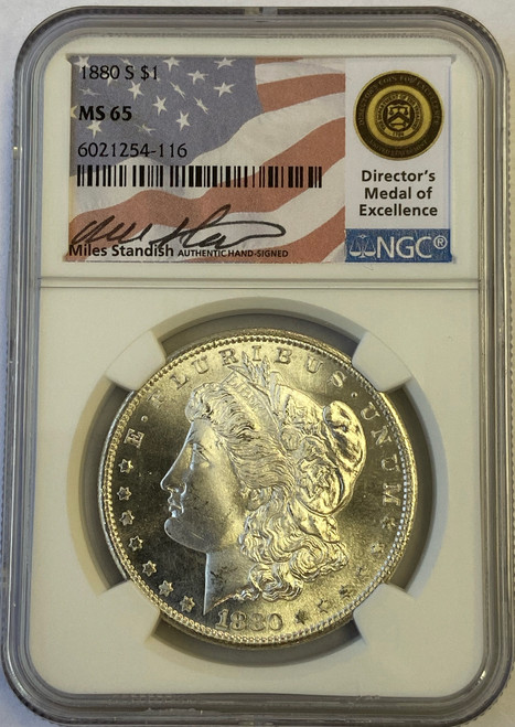 Pre-1921 Morgan Silver Dollar NGC MS65 - Miles Standish Signed