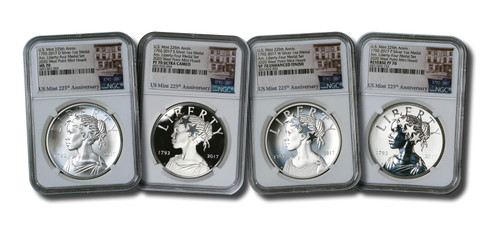 2017 225th Anniversary Silver Medal 4-pc Set NGC 70 West Point Mint Hoard