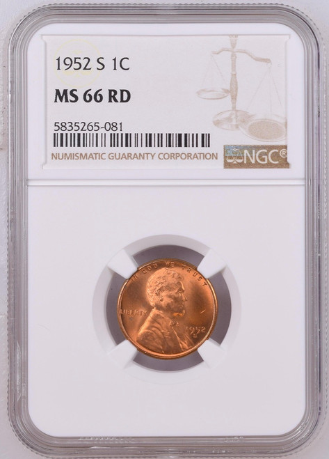 1952-S Wheat Penny NGC MS66 RD