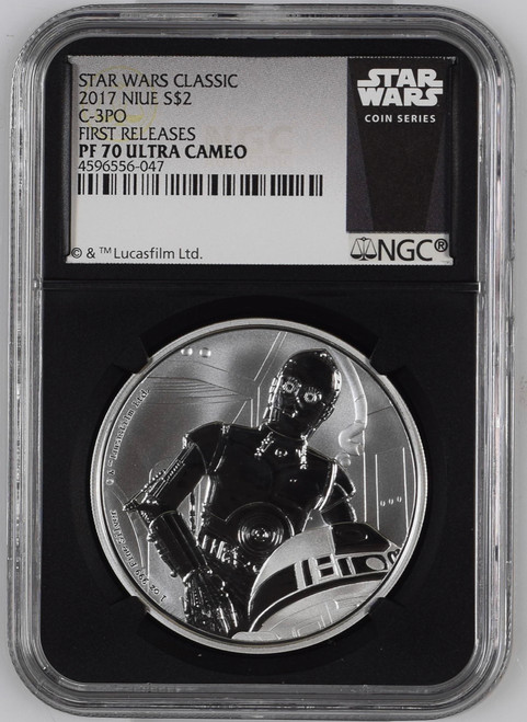 2017 $2 Niue Proof Silver C3PO Star Wars NGC PF70 Ultra Cameo First Releases