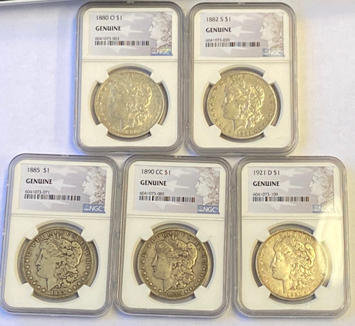 P,O,S,D,CC Morgan Dollar Mintmark 5-pc Set  NGC Genuine