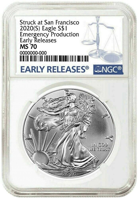 2020 (S) Silver Eagle NGC MS70 Type 1 Early Releases - Emergency Issue San Francisco Minted