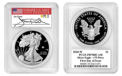2020-W End of WWII 75th Anniversary Silver Eagle V75 PCGS PR70 DCAM First Day of Issue Jim Peed Signed