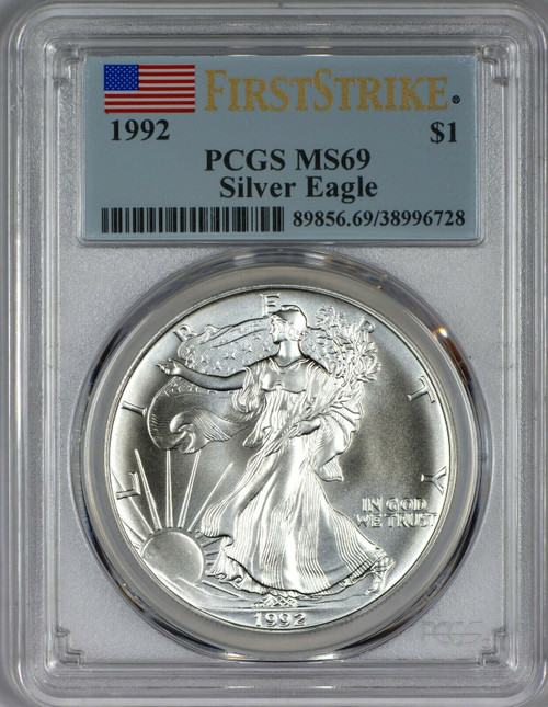 1992 Silver Eagle PCGS MS69 First Strike - Hardly Seen
