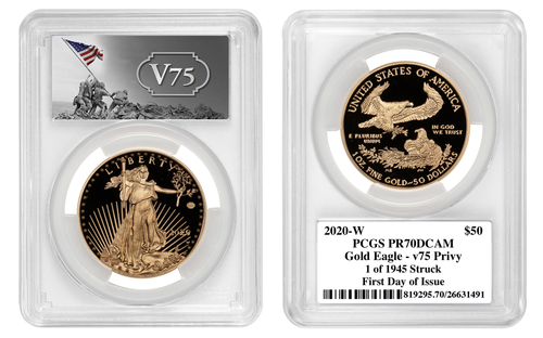 2020-W End of WWII 75th Anniversary $50 Gold Eagle V75 PCGS PR70 DCAM First Day of Issue 1 of 1945 Minted