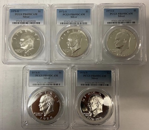 1971-1976 Silver Eisenhower Dollar PCGS PR69DCAM (5 Coin Set) - The Super Rare Silver Issue