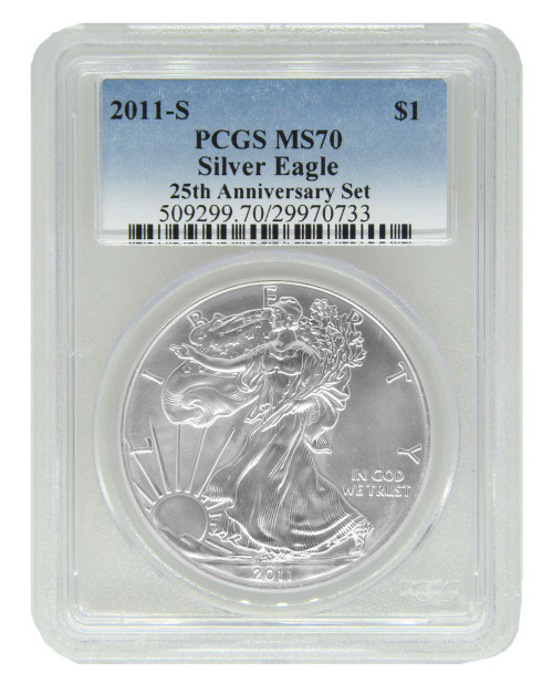 2011-S Burnished Silver Eagle PCGS SP70 - 25th Anniversary