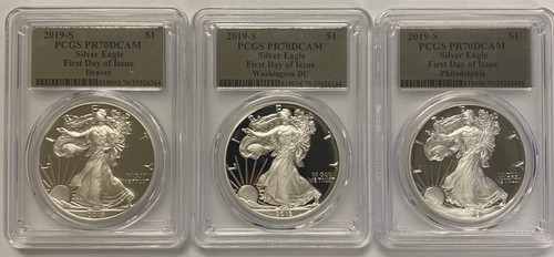 357 of 9611 2019-S Proof Silver Eagle PCGS PR70 First Day of Issue Silver Foil - 3 Coin City Set  obverses
