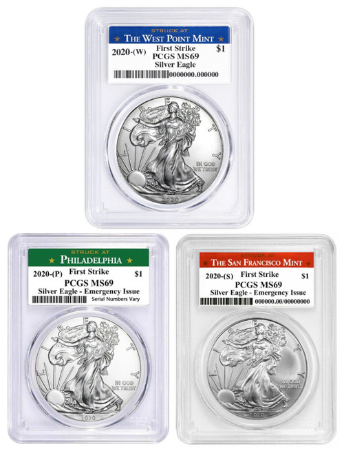 2020 (W) (P) (S) Silver Eagle PCGS MS69 First Strike - Complete 3 Coin Mint Set