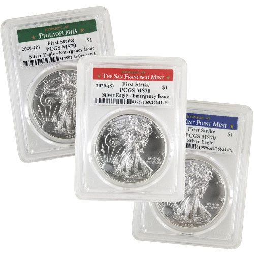 2020 (W) (P) (S) Silver Eagle PCGS MS70 First Strike - Complete 3 Coin Mint Set