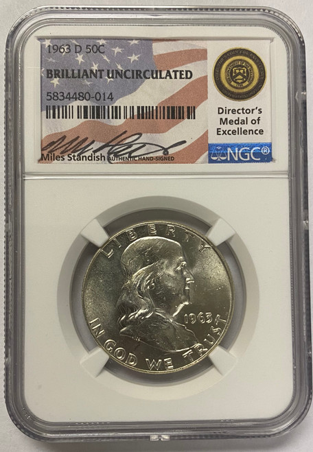 1963 Franklin Half Dollar NGC Brilliant Uncirculated Miles Standish