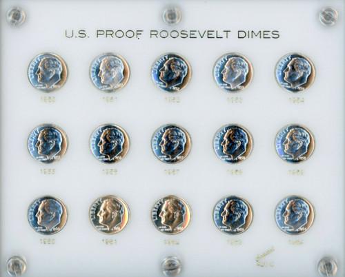 1950-1964 Silver Proof Roosevelt Dime Set - GEM Proof in holder