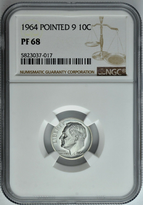 1964 Proof Roosevelt Dime NGC PF68 - Pointed 9 Variety