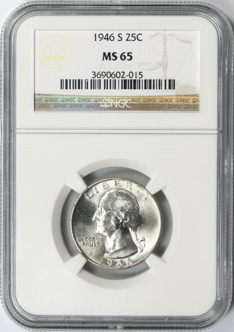 1946-S Silver Washington Quarter NGC MS65 - Post WWII GEM