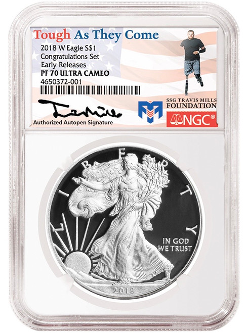 2018-W Proof Silver Eagle NGC PF70 Congratulations Set Early Releases Travis Mills Signed