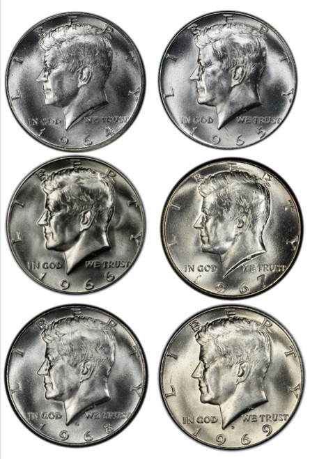 1964-1969 Silver Kennedy Half Dollar Brilliant Uncirculated - The Only Silver JFK's