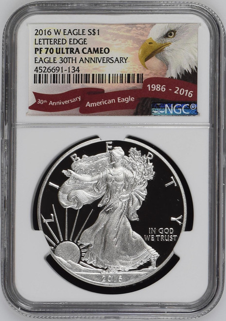 2016-W Proof Silver Eagle NGC PF70 UCAM - Lettered Edge