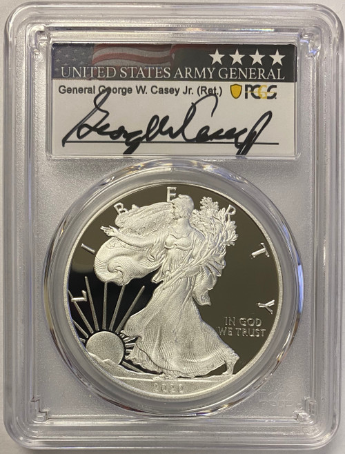 2020-W Silver Eagle PCGS PR70 First Strike General Casey Signed - Only 100 exist!