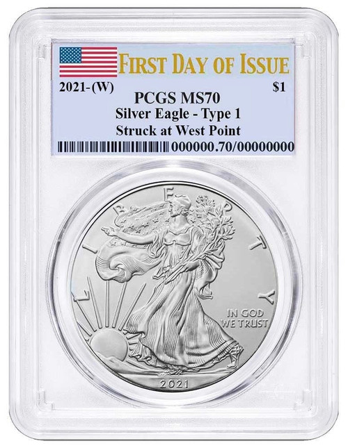 2021 (W) Silver Eagle PCGS MS70 First Day of Issue Type 1