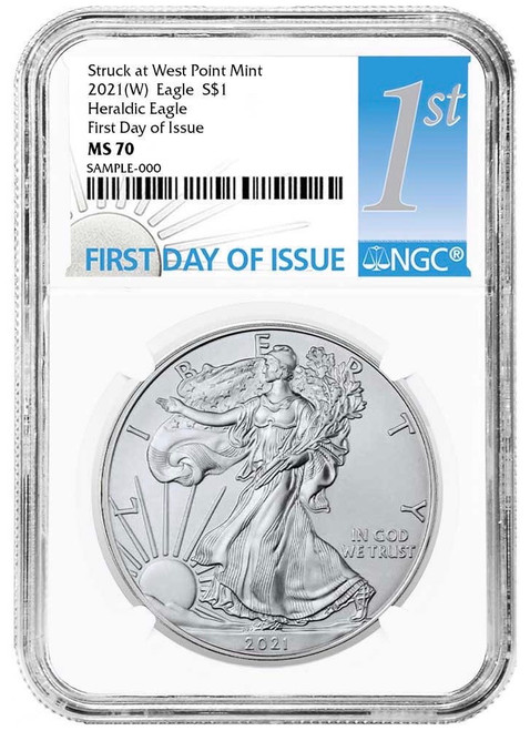2021 (W) Silver Eagle NGC MS70 First Day of Issue - Heraldic Eagle