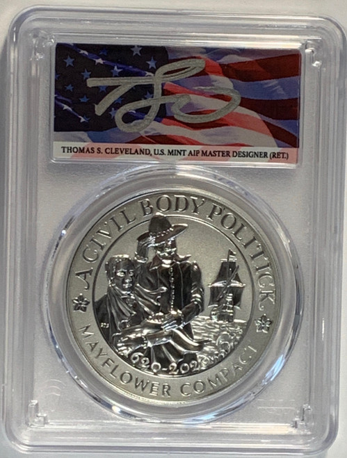 (2020) Mayflower 400th Anniversary Silver Medal PCGS Reverse PR70 First Strike Thomas Cleveland Signed