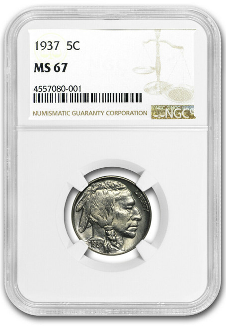 1937 Buffalo Nickel NGC MS67 - Just 539 Exist