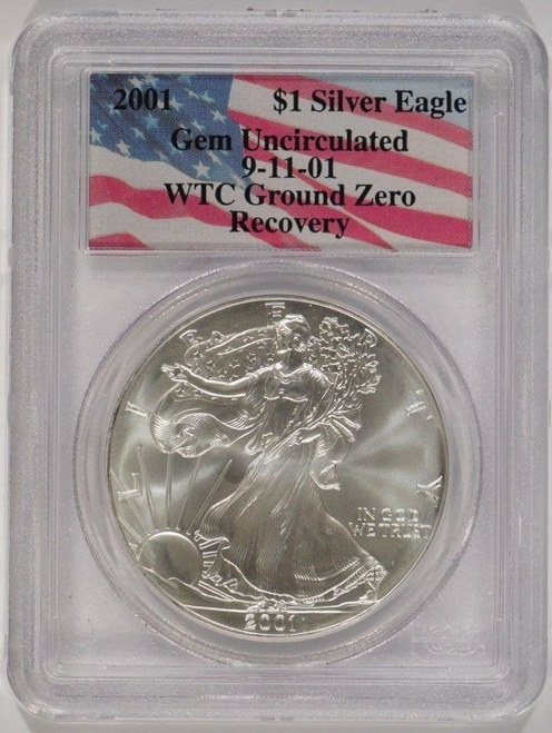 2001 World Trade Center Recovery Silver Eagle PCGS GEM Uncirculated
