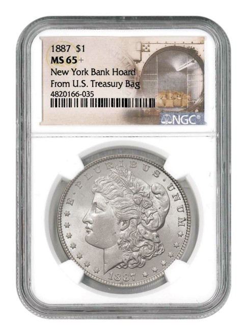 1887 Morgan Silver Dollar From the New York Bank Hoard NGC MS65+