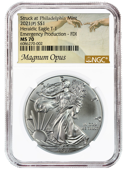 2021 (P) Silver Eagle NGC MS70 First Day of Issue Magnum Opus - Emergency Production