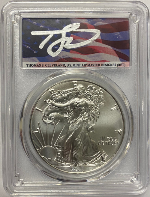 2021 (P) Silver Eagle PCGS MS70 T1 First Strike Thomas Cleveland Signed - Emergency Issue