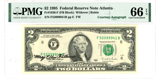 1995 $2 Federal Reserve Note Mary Allen Withrow Courtesy Autograph PMG 66 EPQ