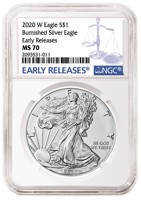 2020-W Burnished Silver Eagle NGC MS70 Early Releases